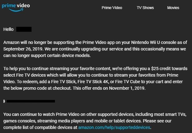 Amazon Prime Mail Wii U